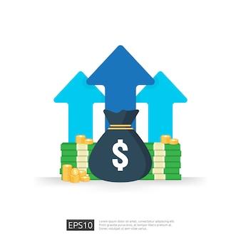 소득 급여 달러 비율 증가 통계. 사업 이익 성장 마진 수익. 화살표와 투자 수익 roi 개념의 재무 성과. 비용 판매 아이콘 평면 스타일