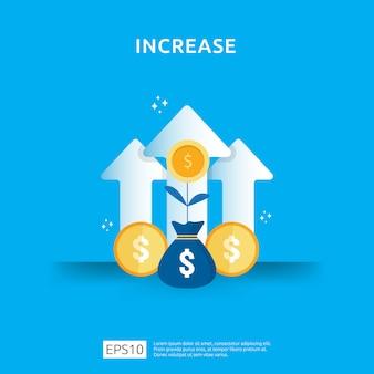 소득 급여 인상. 비즈니스 차트 그래픽 성장 마진 수익입니다. 화살표 요소와 투자 수익 roi 개념의 재무 성과. 평면 스타일 디자인