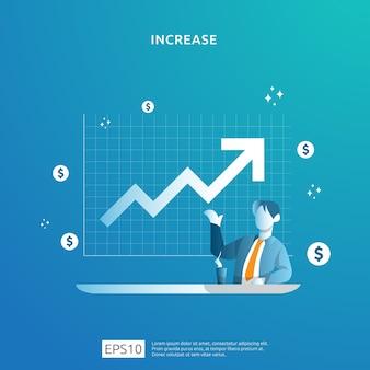 사람들의 캐릭터와 화살표와 함께 소득 급여 비율 증가 개념 그림. 비즈니스 이익 성장, 판매는 달러 기호로 마진 수익을 증가시킵니다. roi roi의 재무 성과