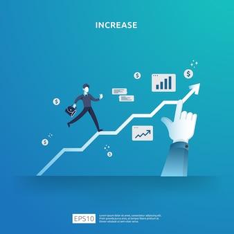 収入給与率は、人々のキャラクターと矢印で概念図を増やします。事業利益の成長、販売はドル記号でマージン収益を成長させます。投資収益率roiの財務実績