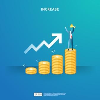 所得給与率は、人々の文字と矢印の概念図を増やします。投資収益率roiの財務パフォーマンス。ビジネス利益の成長、販売はドル記号でマージン収益を成長させます