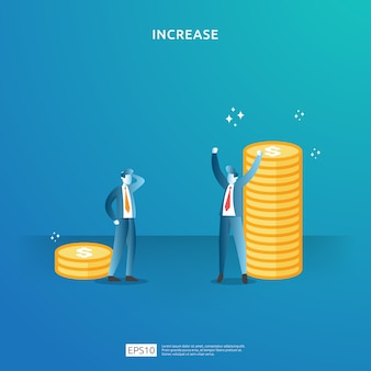 사람들의 캐릭터와 화살표와 함께 소득 급여 비율 증가 개념 그림. 투자 수익 roi의 재무 성과. 비즈니스 이익 성장, 판매 성장 달러 기호로 마진 수익