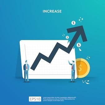 사람들의 캐릭터와 화살표와 함께 소득 급여 비율 증가 개념 그림. 투자 수익 roi의 재무 성과. 비즈니스 이익 성장