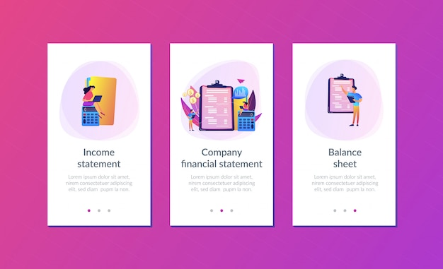 Income statement app interface template