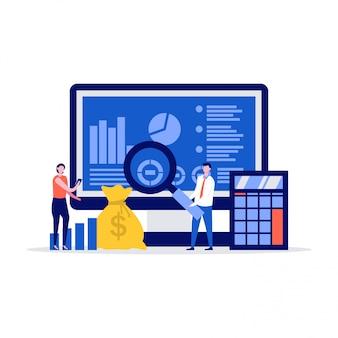 Концепция иллюстрации отчета о доходах с персонажами, стоящими возле экрана компьютера, калькулятора, денег.