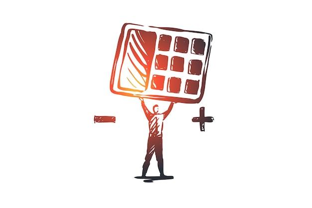 損益計算書、会計、財務、貸借対照表の概念。彼の手のコンセプトスケッチで電卓を持つ手描きの実業家。