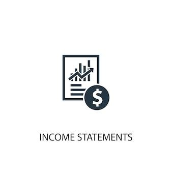 損益計算書アイコン。シンプルな要素のイラスト。損益計算書の概念記号のデザイン。 webおよびモバイルに使用できます。
