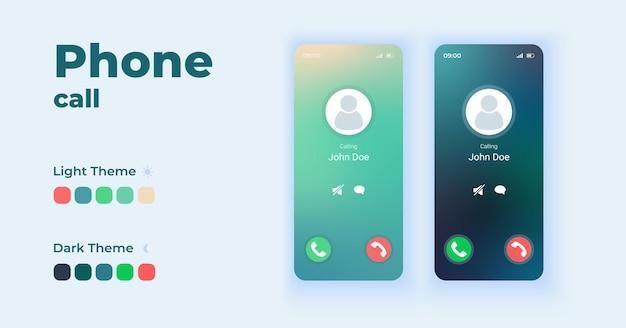 Incoming call displaying on screen cartoon smartphone interface templates set.