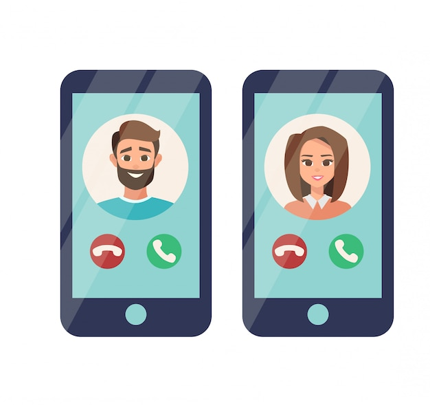 Incoming call from man and woman on mobile phone