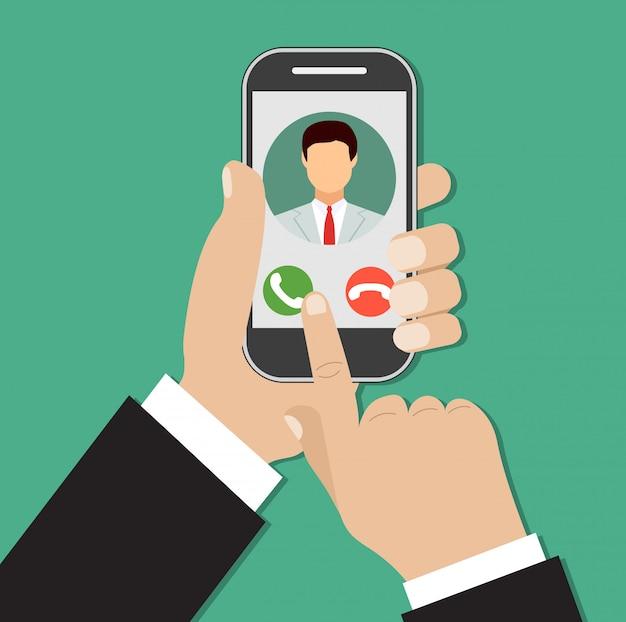 スマートフォンの画面で着信。
