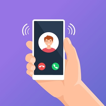 Incoming call on phone screen hand holding smartphone with call app interface display concept