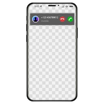 Iphone에서 수신 전화 화면 표시. 전화 모바일 애플리케이션 사용자 인터페이스에 응답하는 방법. 삽화