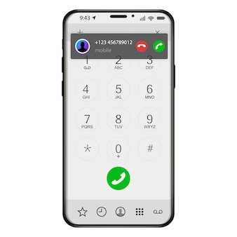 Incoming call screen display from smartphone. how to answer phone mobile application user interface. illustration