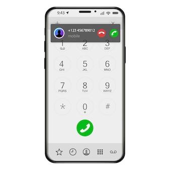 スマートフォンからの着信画面表示。電話モバイルアプリケーションのユーザーインターフェイスに応答する方法。図