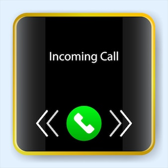 Incoming call screen smartwatch. user interface mobile app kit. vector illustration design. software application ui