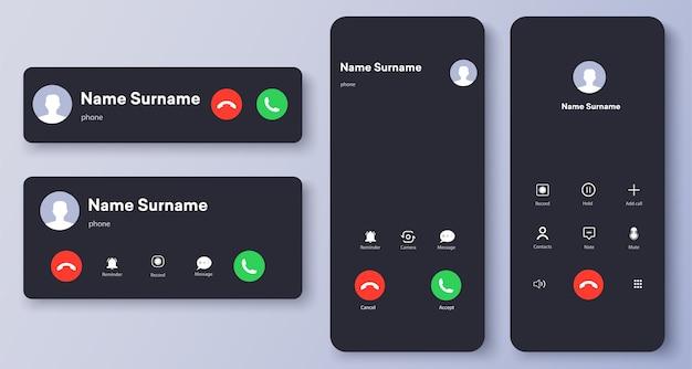 Входящий звонок, экран голосовой почты, шаблон интерфейса смартфона. плоский ui, ux для приложений. новый шаблон экрана вызова.