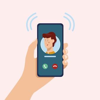 Входящий видеозвонок рука держит смартфон люди, использующие приложение для видеозвонков во время социального дистанцирования