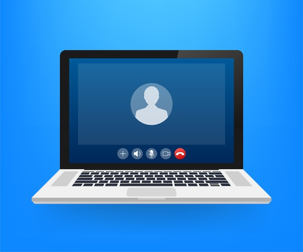 Incoming video call on laptop illustration