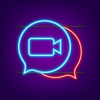 Incoming video call on laptop. laptop with incoming call, man profile picture and accept decline buttons. neon icon. vector stock illustration.