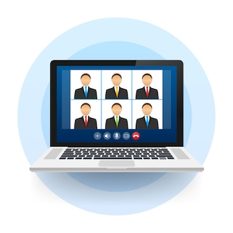 Incoming video call on laptop