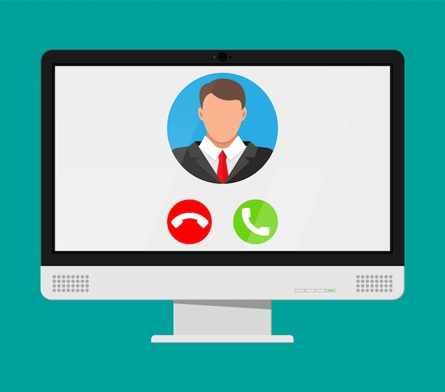 コンピューターでのビデオ通話の着信。男の写真、拒否してノートブック画面のボタンを受け入れます。オンライン会議、ビデオ通話、ウェビナー、トレーニング。