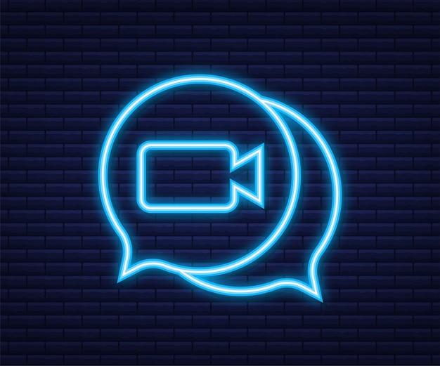 Входящий видеозвонок на ноутбуке. ноутбук с входящим вызовом, изображением профиля человека и кнопками принятия отказа. неоновая иконка. векторная иллюстрация штока.