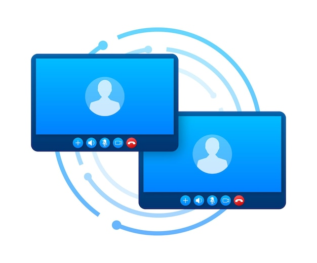 Входящий видеозвонок на ноутбуке. ноутбук с входящим вызовом, изображением профиля человека и кнопками принятия отказа. векторная иллюстрация штока.