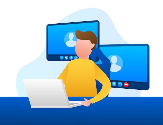 Входящий видеозвонок на ноутбуке. ноутбук с входящим вызовом, изображением профиля человека и кнопками принятия отказа. векторная иллюстрация штока