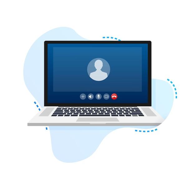 Входящий видеозвонок на ноутбуке ноутбук с входящим вызовом