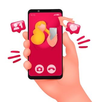 스마트 폰 화면에 들어오는 화상 통화. 온라인 데이트 채팅.