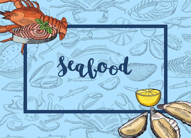 Рука нарисованные морепродукты элементы incorners