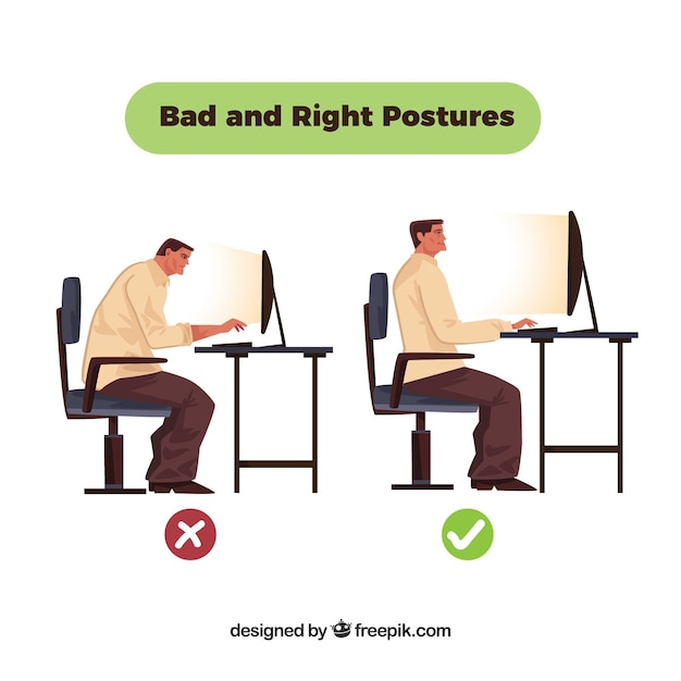 Incorrect posture in front of the computer