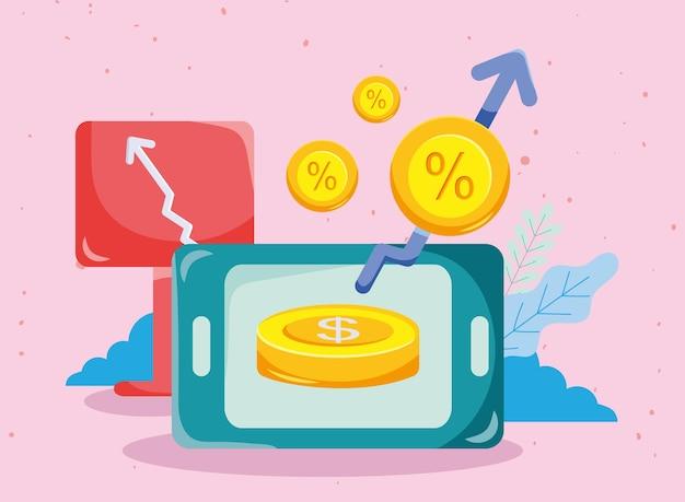 화살표 배너 스마트폰 및 동전 증가