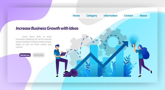 Increase business growth with idea. financial chart to increase company value and experience in business. landing page web template