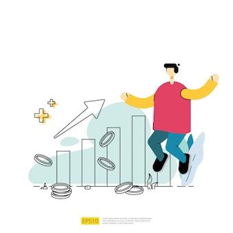 화살표 위쪽 그래프 차트, 달러 동전 및 사업가 캐릭터로 성장 비즈니스 이익을 늘리십시오. 플랫 스타일로 투자 개념 벡터 일러스트 레이 션에 대한 수익의 성공 비즈니스 상승 성능