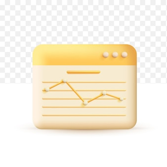 Increase money growth. tatistics chart concept yellow. 3d vector illustration on white transparent background