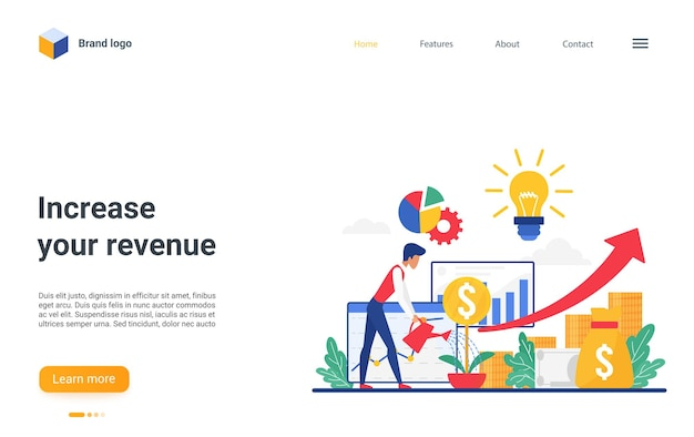 Increase revenue concept landing page investor watering money tree to grow gold coins