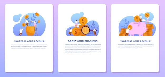 수익 모바일 웹 배너 세트를 늘리십시오. 자본 성장 및 금융 투자에 대한 아이디어. 사업 이익. 삽화