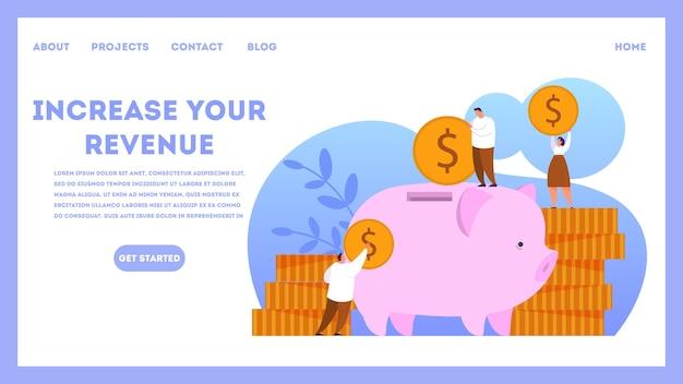 웹 배너 개념의 수익을 높입니다. 자본 성장 및 금융 투자에 대한 아이디어. 사업 이익. 삽화