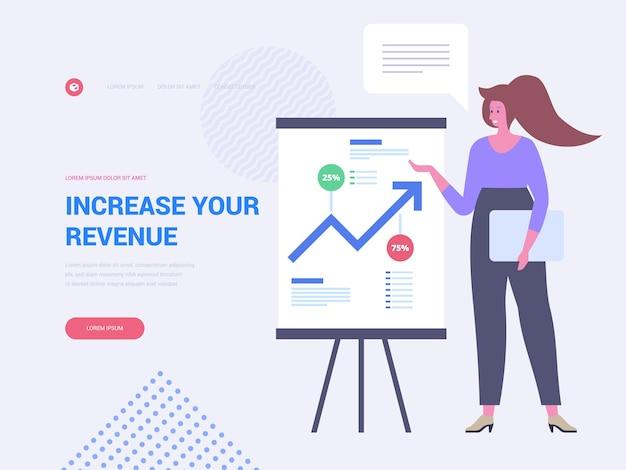 収益のランディングページのベクターテンプレートを増やします。フラットなイラストと財務分析のウェブサイトのホームページのインターフェイスのアイデア。販売進捗グラフ。利益成長ウェブバナー漫画の概念