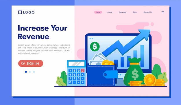 Increase your revenue landing page website template