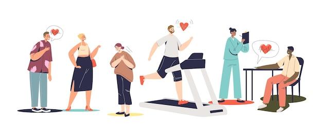 사랑, 훈련, 조깅 또는 심장 통증으로 고통받는 사람들과 함께 설정된 심장 박동수 증가. 심장 박동과 건강 개념입니다. 만화 벡터 일러스트 레이 션