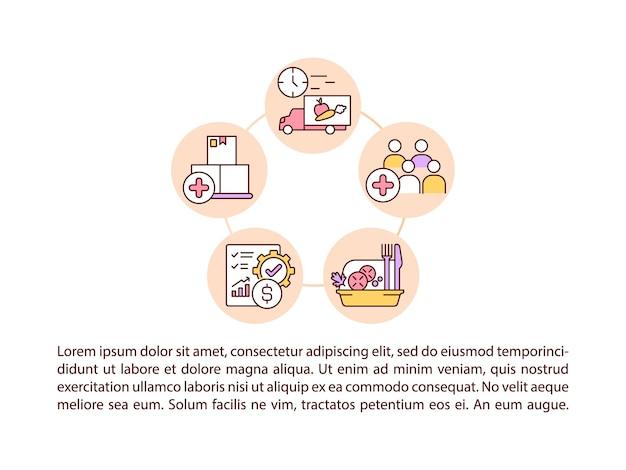 テキスト付きの食品コンセプト ライン アイコンを提供するための労力の増加