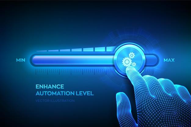 자동화 수준 증가. rpa 로봇 프로세스 자동화 혁신 기술 개념. 와이어 프레임 손이 기어 아이콘이있는 최대 위치 진행률 표시 줄까지 당기고 있습니다.