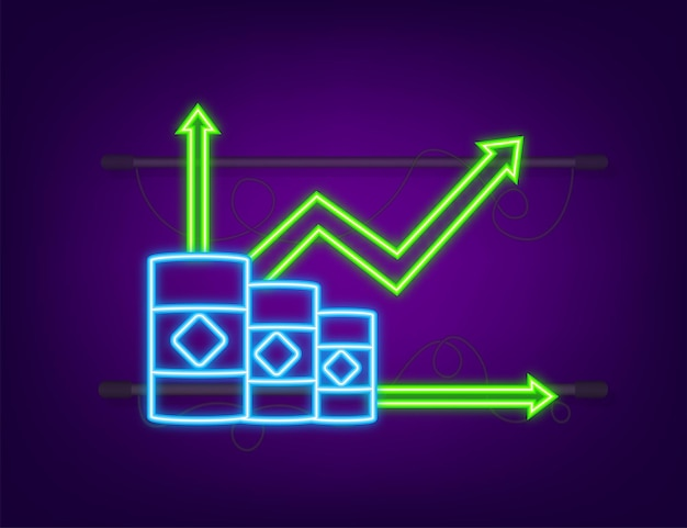 Increasing price of oil on white background. neon style. vector stock illustration.