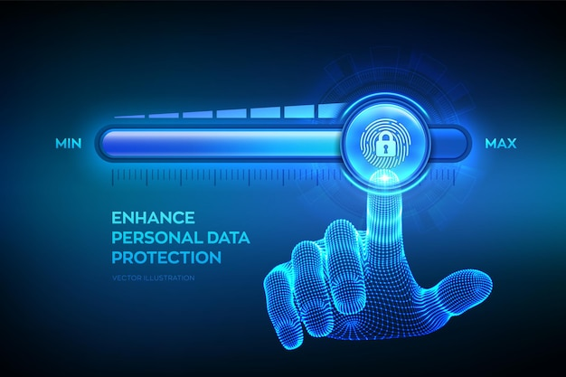 Increasing privacy security level. enhance personal data protection level. wireframe hand is pulling up to the maximum position progress bar with the fingerpring and lock icon. vector illustration.