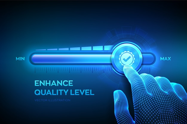 품질 수준 향상. 와이어 프레임 손이 품질 아이콘이있는 최대 위치 진행률 표시 줄까지 당기고 있습니다.