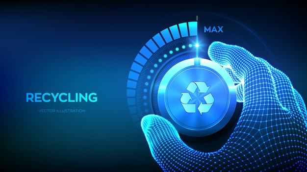 Increasing recycling level. recycle eco concept. hand turning a recycling test knob to the maximum position.