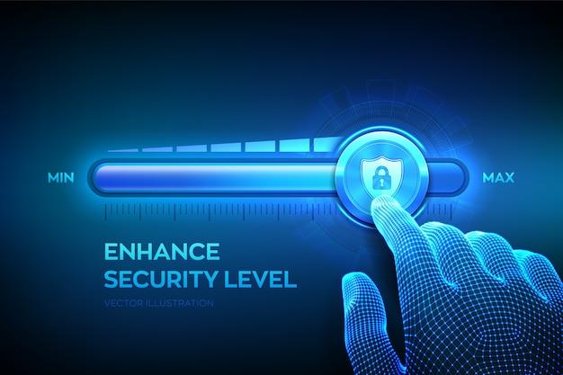 セキュリティレベルの向上。サイバーセキュリティの概念。ワイヤーフレームの手は、安全なシールドアイコンが付いた最大位置のプログレスバーまで引き上げています。データ保護レベルを強化します。