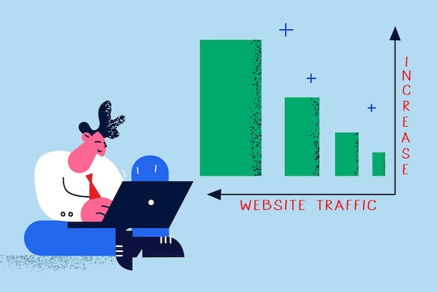 Increasing website traffic in business concept